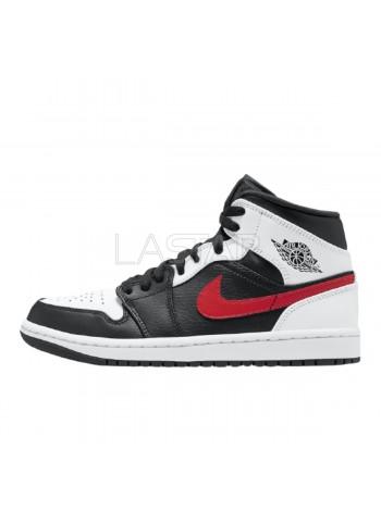 Jordan 1 Mid Black Chile Red White 554724-075