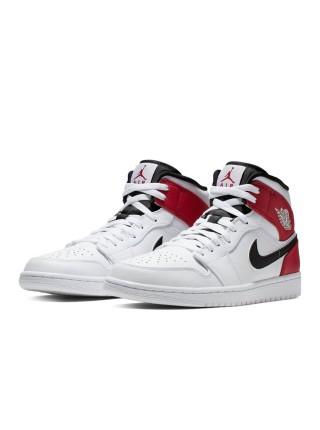 Jordan 1 Mid White Black Gym Red 554724-116