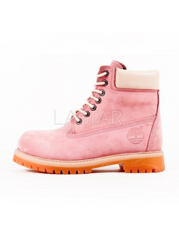 Timberland Classic Premium 6-Inch Boots In Pink and Yellow (С МЕХОМ)