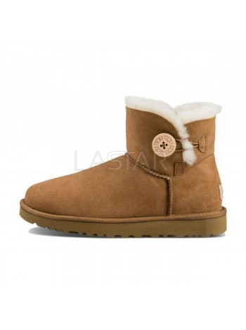 UGG Classic Mini Bailey Button Bling Chestnut