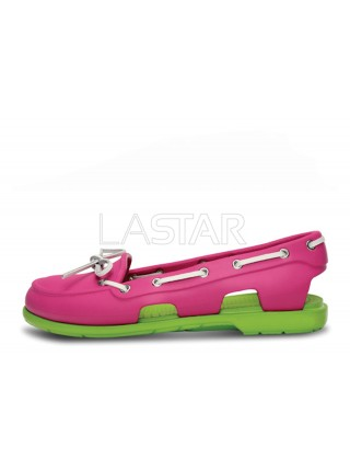 CROCS Beach Line Boat Pink Green W