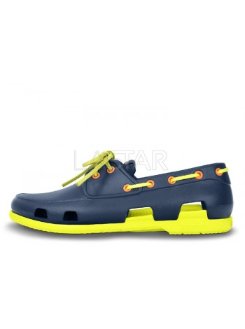 CROCS Beach Line Boat Navy Citrus M