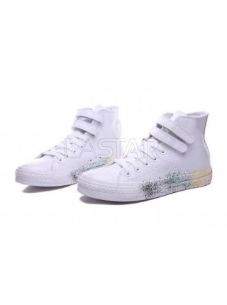 Converse All Star White Leather Paint
