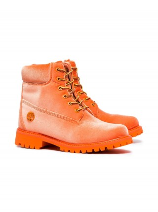 OFF-WHITE x Timberland Orange Velvet Boots