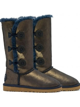 UGG Classic Tall Bailey Button Triplet Nappa Blue Gold