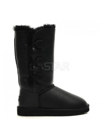 UGG Classic Tall Bailey Button Triplet Leather Black