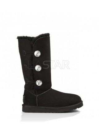 UGG Classic Tall Bailey Button Triplet Bling Black