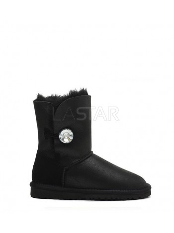 UGG Classic Short Bailey Button Bling Leather Black
