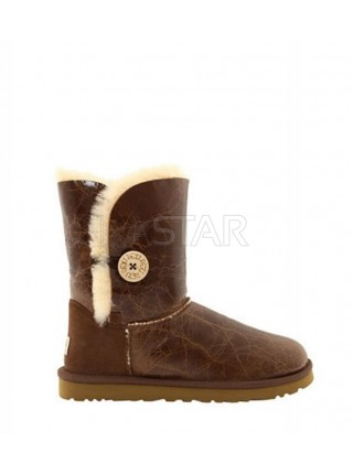 UGG Classic Short Bailey Button Krinkle Chestnut