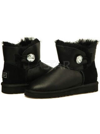 UGG Classic Mini Bailey Button Bling Black Leather