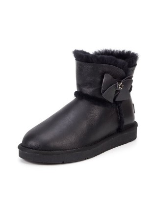 UGG AUS 1978 Classic Mini Bailey Bow Metallic Black