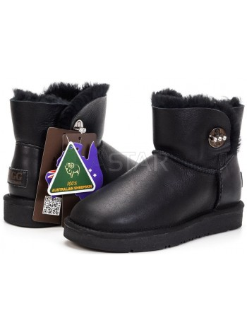 UGG AUS 1978 Classic Mini Bailey Black Leather