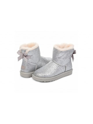 UGG Classic Mini Bailey Bow Sparkle Silver