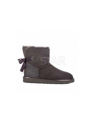UGG Classic Mini Bailey Bow Metallic Grey