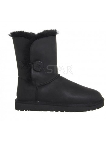 UGG Classic Short Bailey Button Leather Black